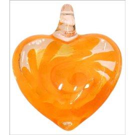 Pendentifs en verre de Murano - Coeur/35 mm - Orange