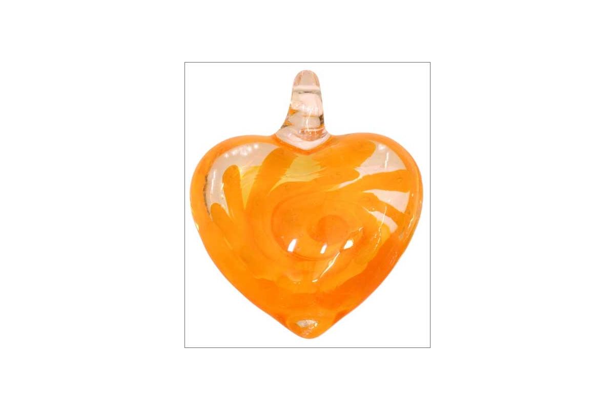 grossiste lot de 5 pendentifs en verre coeurs 35 mm orange. Black Bedroom Furniture Sets. Home Design Ideas