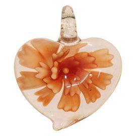 Lot de 5 pendentifs en verre - Coeurs/43 mm - Orange