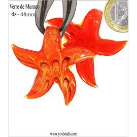 Lot de 5 pendentifs en verre - Étoiles/48 mm - Corail