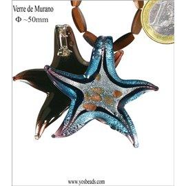 Lot de 5 pendentifs en verre - Étoiles/50 mm - Bleu ciel
