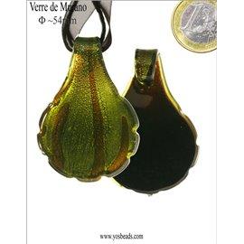 Lot de 5 pendentifs en verre - Feuilles/54 mm - Vert