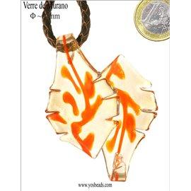 Lot de 5 pendentifs en verre - Feuilles/60 mm - Orange light