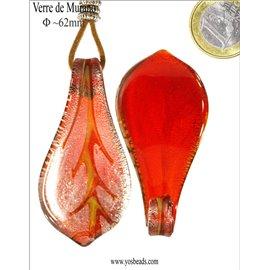 Pendentifs en verre de Murano - Feuille/62 mm - Rouge