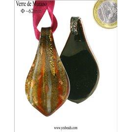 Pendentifs en verre de Murano - Feuille/62 mm - Vert