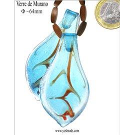 Pendentifs en verre de Murano - Feuille/64 mm - Bleu
