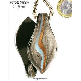 Pendentifs en verre de Murano - Feuille/65 mm - Argenté