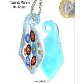 Pendentifs en verre de Murano - Feuille/65 mm - Bleu