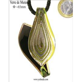 Pendentifs en verre de Murano - Feuille/65 mm - Vert
