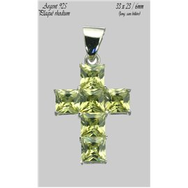 Pendentifs en Argent 925 - Croix/33 mm - Vert