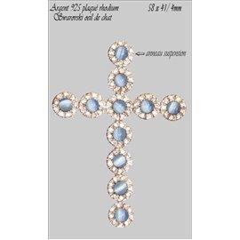 Pendentifs en Argent 925 - Croix/58 mm - Bleu