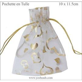 Pochettes en tulle - 11,5 mm - Blanc
