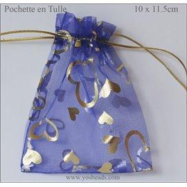 Pochettes en tulle - 11,5 mm - Bleu