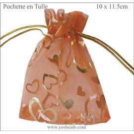 Pochettes en tulle - 11,5 mm - Orange