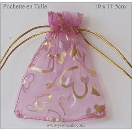 Pochettes en tulle - 11,5 mm - Rose