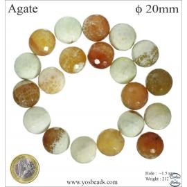 Perles semi précieuses en Agate - Ronde/20 mm - Beige