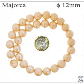 Perles d'imitation granulées - Rondes/12 mm - Orange doré