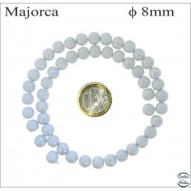 Perles d'imitation granulées - Rondes/8 mm - Alice blue