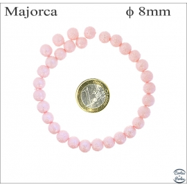 Perles d'imitation granulées - Rondes/8 mm - Misty rose