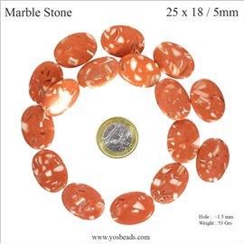 Perles semi précieuses marbre - Ovales/25 mm - Orange corail