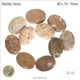 Pierres semi précieuses marbre - Ovales/40 mm - Beige