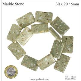 Pierres semi précieuses marbre - Rectangles/30 mm - Green stone