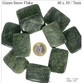 Perles semi précieuses en marbre green snowflake - Rectangles/40 mm