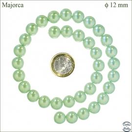 Perles de Majorque lisses - Ronde/12 mm - Vert