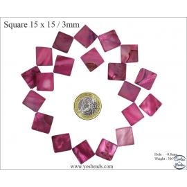 Perles en nacre - Carré/15 mm - Rose indien