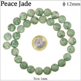 Perles semi précieuses en peace jade - Rondes/12 mm