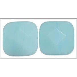 Perles facettées en verre - Carré/14 mm - Turquoise opaque
