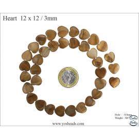 Perles en nacre - Coeurs/12 mm - Marron