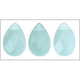 Perles facettées en verre - Gouttes/9 mm - Bleu lagon