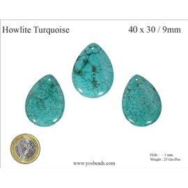 Perles semi précieuses en Howlite Turquoise - Goutte/40 mm - Turquoise