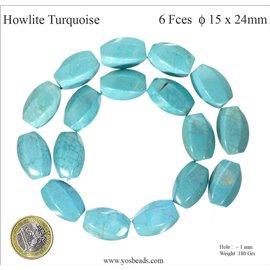 Perles semi précieuses en howlite turquoise - Tonneaux/24 mm - Turquoise
