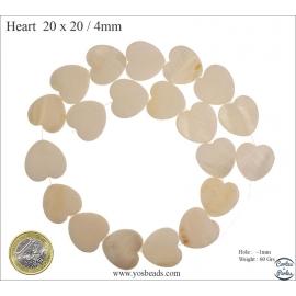 Perles en nacre - Coeurs/20 mm - Crème