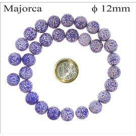 Perles de Majorque Granulées - Ronde/12 mm - Bleu