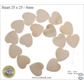 Perles en nacre - Coeurs/25 mm - Crème