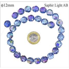 Perles facettées en verre - Rondes/12 mm - Light saphir AB