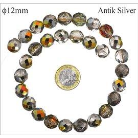 Perles facettées en verre - Rondes/12 mm - Antik silver