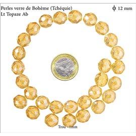 Perles facettées en verre - Rondes/12 mm - Light topaze AB