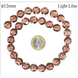 Perles facettées en verre - Rondes/12 mm - Light lilas