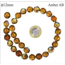 Perles facettées en verre - Rondes/12 mm - Ambre AB