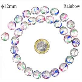 Perles facettées en verre - Rondes/12 mm - Rainbow