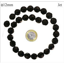 Perles facettées en verre - Rondes/12 mm - Jet