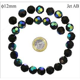 Perles facettées en verre - Rondes/12 mm - Jet AB