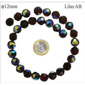 Perles facettées en verre - Rondes/12 mm - Lilas AB