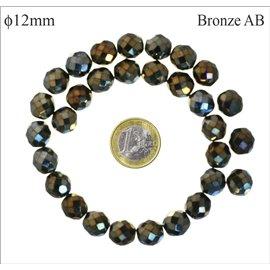Perles facettées en verre - Rondes/12 mm - Bronze AB