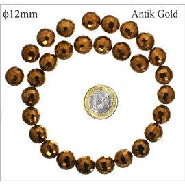 Perles facettées en verre - Rondes/12 mm - Antik gold