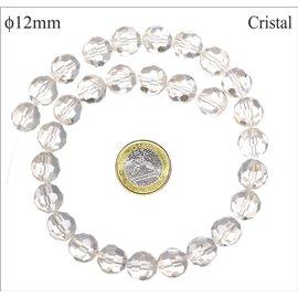 Perles facettées en verre - Rondes/12 mm - Cristal